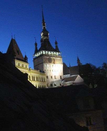 Sighisoara clock tower at night Transylvania Romania eastern Europe