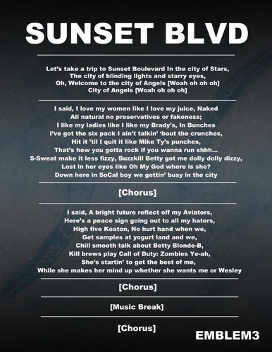 Emblem 3 wallpaper titled Sunset Blvd Lyrics