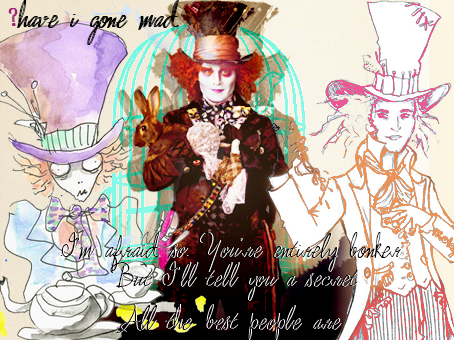 Alice in Wonderland (2010) wallpaper containing anime titled Tim Burton