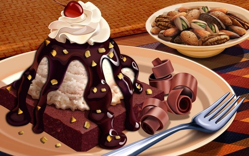 Chocolate wallpaper possibly containing a split, a chocolate mousse, and a baked alaska entitled Yummy!