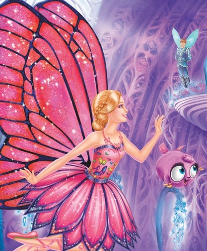 Sinema za Barbie karatasi la kupamba ukuta possibly with a bouquet entitled barbie mariposa the fairy princess
