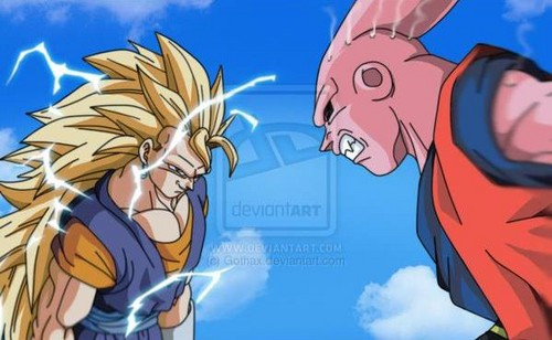 dragon ball z wallpaper containing anime entitled ssj3 vegito vs super buu
