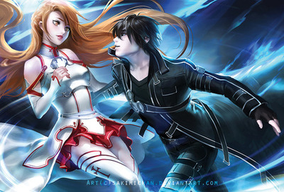 Sword art online♥ kirito x asuna anime couples fan art