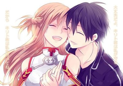 Anime couples wallpaper containing anime called ~Sword Art Online♥(Kirito x Asuna)