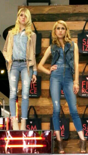 Allison and Hannah modeling for GUESS