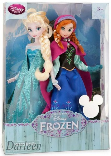 Anna and Elsa Disney Store búp bê in box