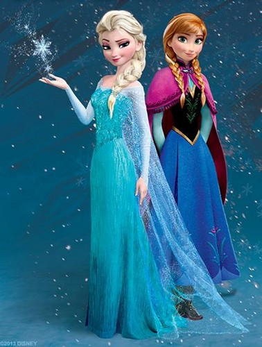 Frozen wallpaper possibly with a dinner dress titled Anna and Elsa