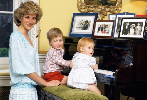 At Home With Diana And Her Two Sons, William and Harry