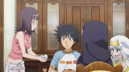 Aww she's offering Touma a hot towel ^_^