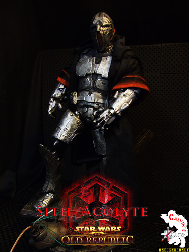 Star Wars wallpaper possibly containing a breastplate and an armor plate called Calvin's Custom One Sixth Starwars the old republic SITH ACOLYTE figure