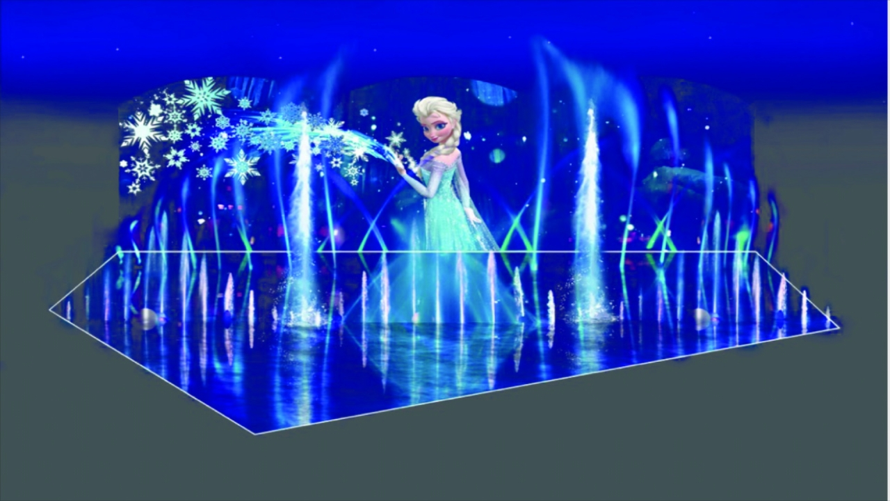 Disney's Frozen featuring Elsa, Olaf and Sven concept art for World of Color - Winter Dreams