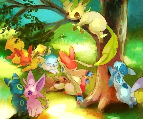 pokémon wallpaper possibly with animê called Eeveelutions