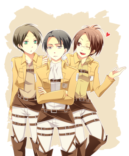 Eren, Rivaille and Hanji