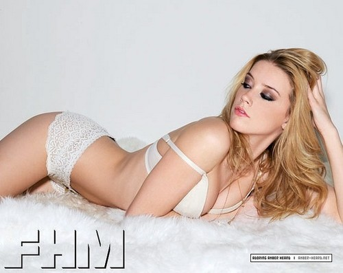 amber heard wallpaper containing attractiveness, skin, and a brassiere titled FHM (2008)