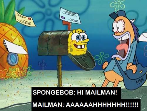 Spongebob Squarepants wallpaper containing anime titled HI MAILMAN!