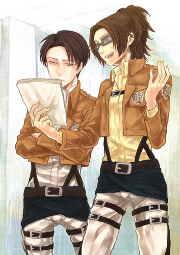 Shingeki no Kyojin (Attack on titan) wallpaper probably with an outerwear titled Hanji Zoe and Rivaille