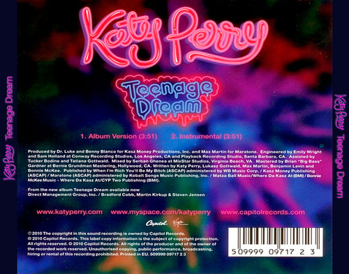 Katy Perry Teenage Dream Cd Single Back