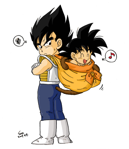 dragon ball z wallpaper containing anime called Kid Vegeta and Baby goku