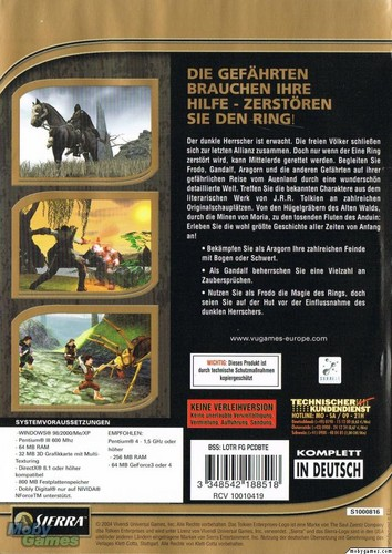 LOTR: Fellowship of the Ring - PC game cover (Back)