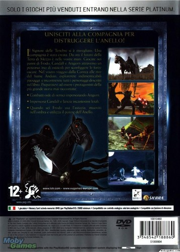 LOTR: Fellowship of the Ring - PS2 game cover (Back)