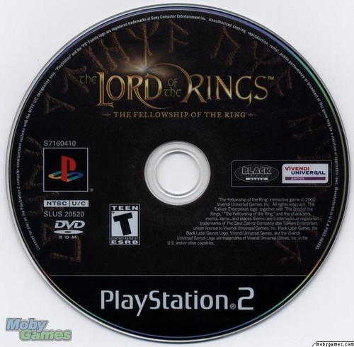 LOTR: Fellowship of the Ring - PS2 game disc