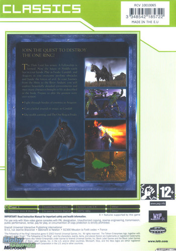 LOTR: Fellowship of the Ring - Xbox game cover (Back)