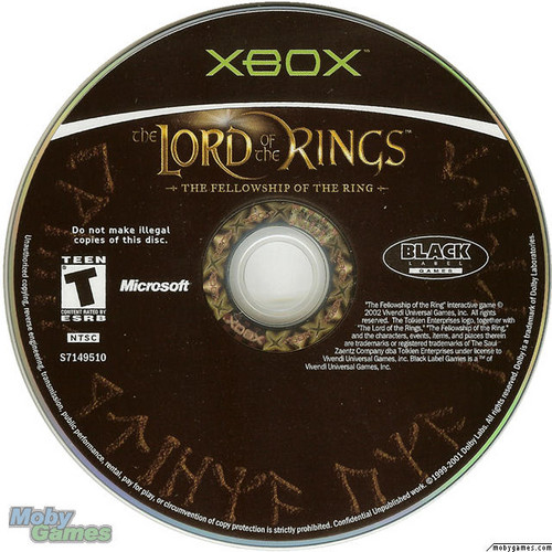 LOTR: Fellowship of the Ring - Xbox game disc