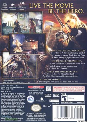 LOTR: Return of the King - Gamecube cover (Back)