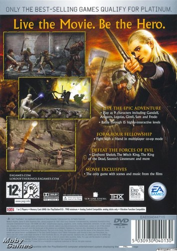 LOTR: Return of the King - PS2 game cover (Back)