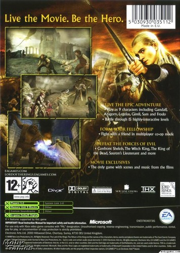 LOTR: Return of the King - Xbox game cover (Back)