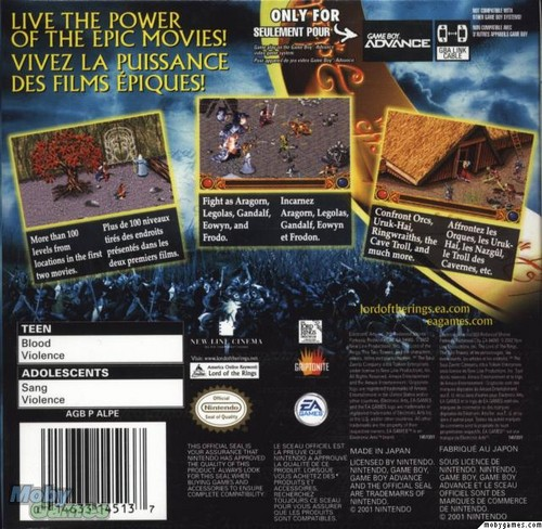 LOTR: The Two Towers - GBA game cover (Back)