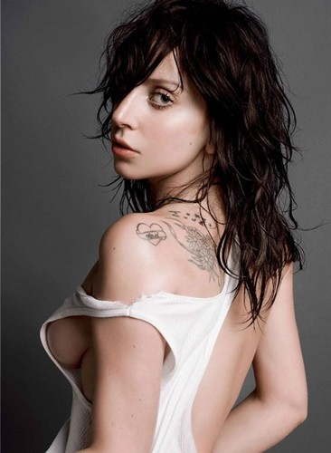 Lady Gaga karatasi la kupamba ukuta possibly with attractiveness, a portrait, and skin called Lady Gaga for V Magazine