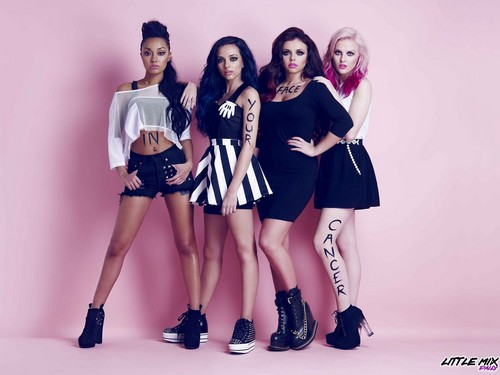 লিট্টল মিক্স দেওয়ালপত্র probably containing bare legs, a playsuit, and a legging called Little Mix