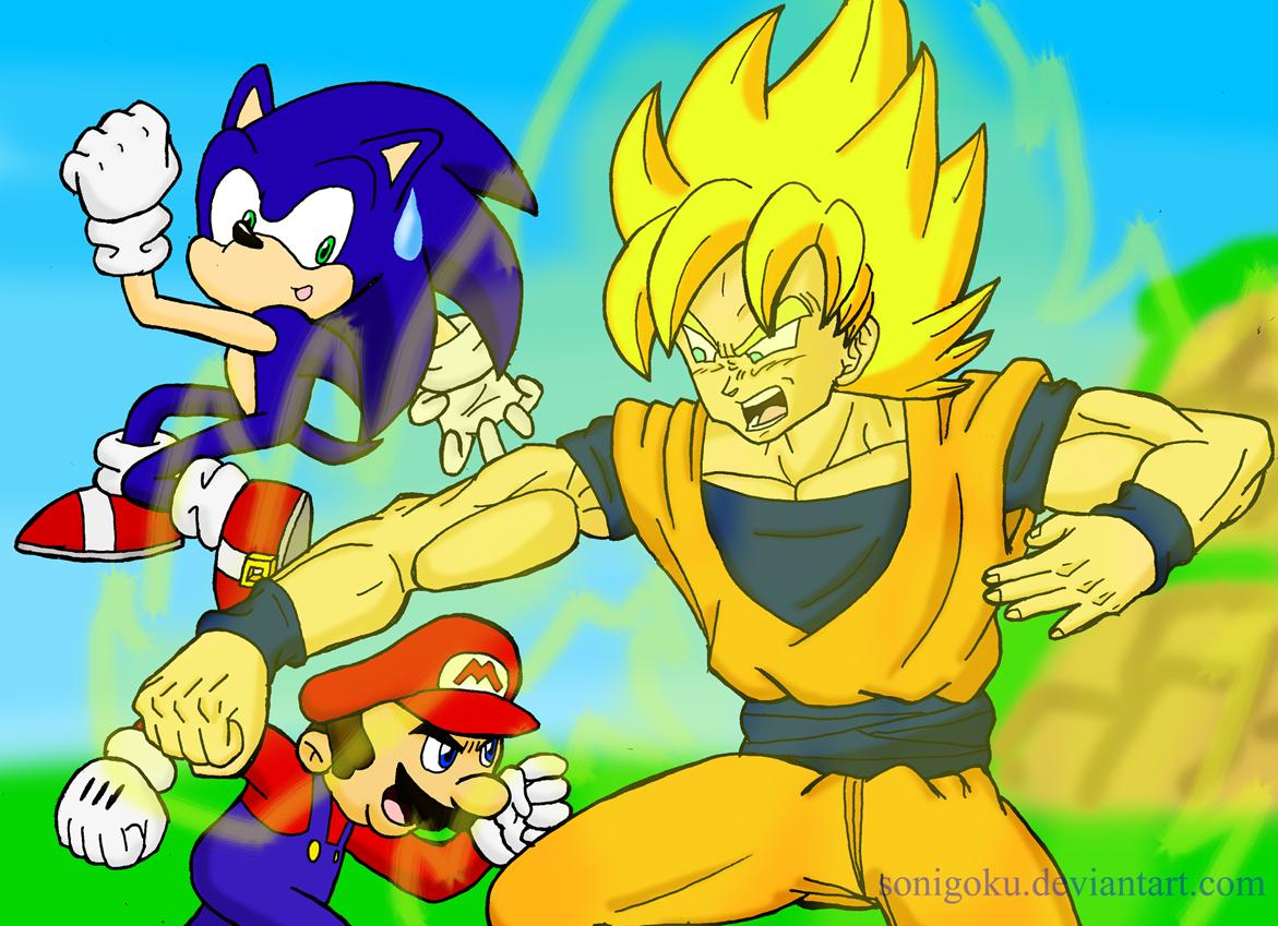 Rileyferguson Images Mario Vs Sonic Vs Goku Hd Wallpaper And