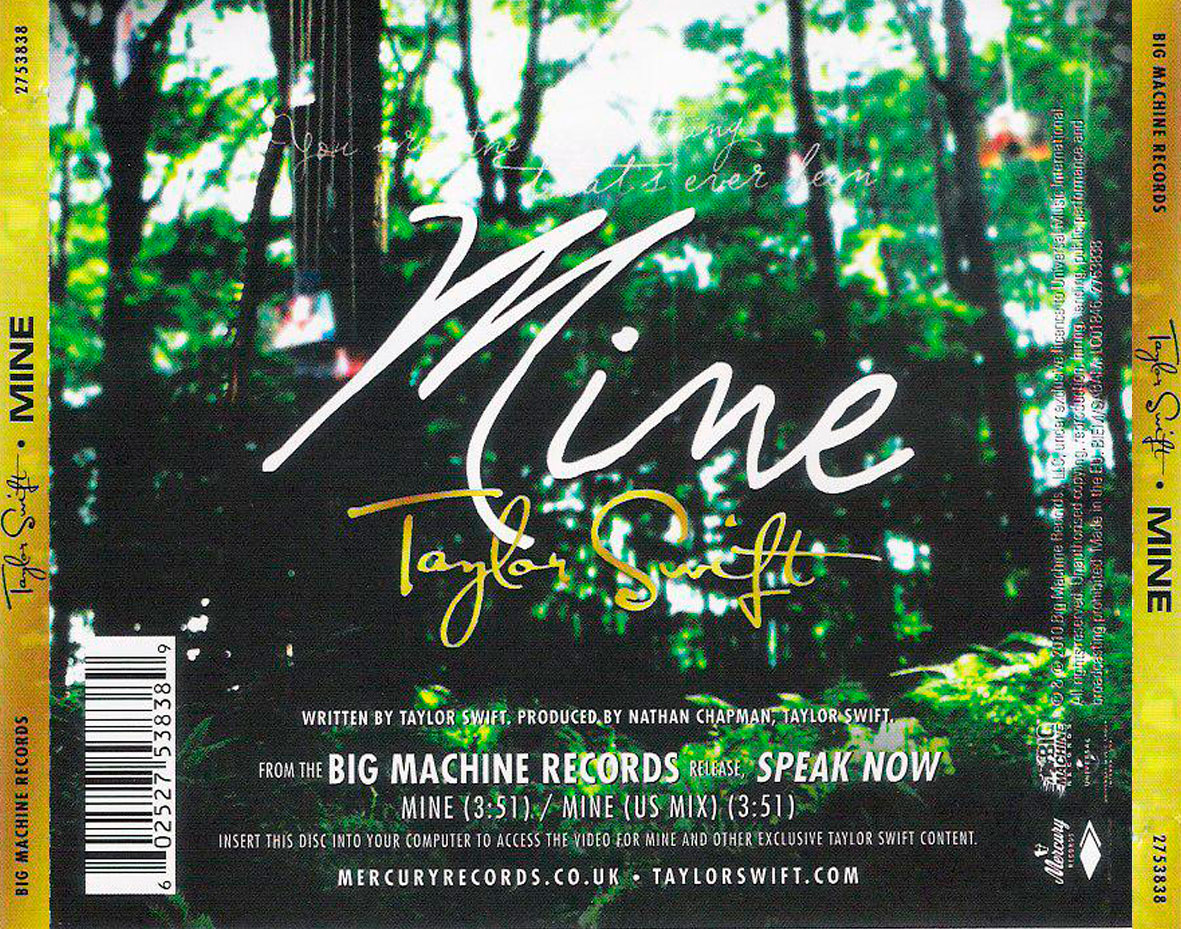 Mine Cd Single Back Taylor Swift Photo 35295577 Fanpop