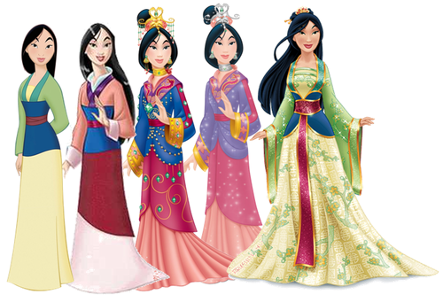 Disney Princess kertas dinding entitled Mulan Dress Evolution