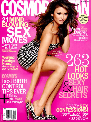 Nina Dobrev wallpaper containing a portrait called Nina for Cosmopolitan - September Issue