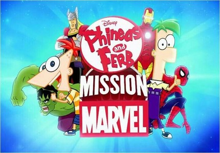 飞哥与小佛 壁纸 containing 日本动漫 entitled Phineas and Ferb with Marvel Superheroes