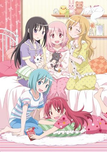 Puella Magi Madoka Magica Обои containing Аниме titled Puella Magi Sleepover