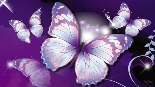 Butterflies wallpaper titled Purple Butterflies ♡