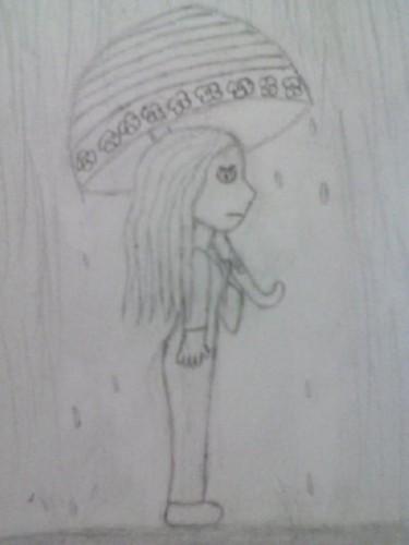 Sad girl in the rain