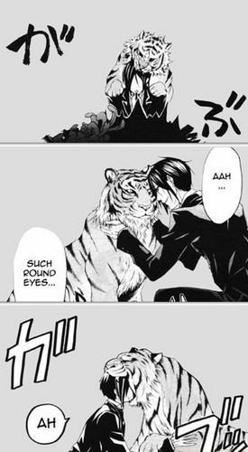 マンガ 壁紙 with アニメ entitled Sebastian and a Tiger (Kuroshitsuji)