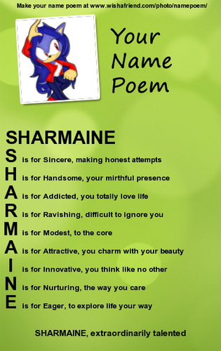 Sharmaine name poem