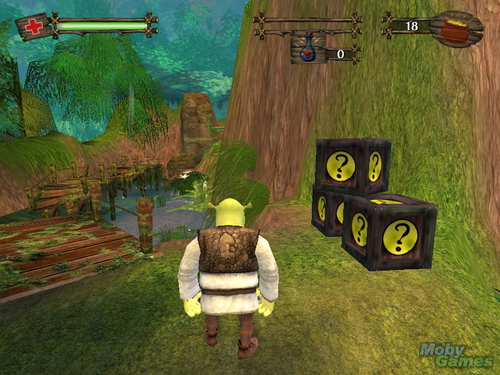 Shrek wallpaper probably with an outhouse, a drawing room, and a living room called Shrek 2 (video game)