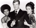 Sir Roger Moore And Co-Stars, Jane Seymour And Gloria Hendry