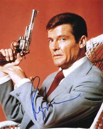 James Bond wallpaper possibly containing a business suit titled An Autographed Picture Of Sir Roger Moore
