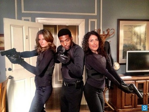 Castle wallpaper possibly with a hip boot, an outerwear, and a well dressed person entitled Stana Katic with Lisa Edelstein & Jocko Sims