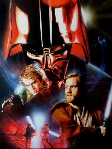 star, sterne Wars Revenge of the Sith hand painted movie poster