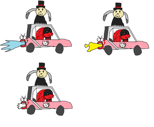 """The animation frames I used to put together """"Baffle RIDIN' ON CARS"""""""