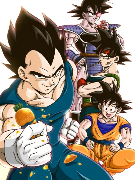 Vegeta, Bardock, Turles and Goku